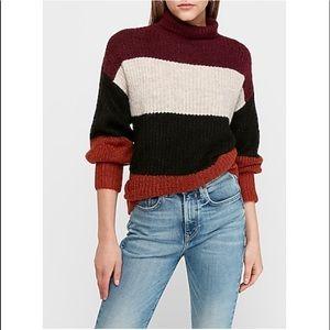 Express Color Block Turtleneck Sweater